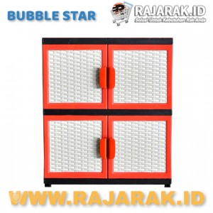 BUBBLE STAR VENUS ROTAN KARAKTER 2 SUSUN - LEMARI PLASTIK - LEMARI BAJU WARNA MERAH