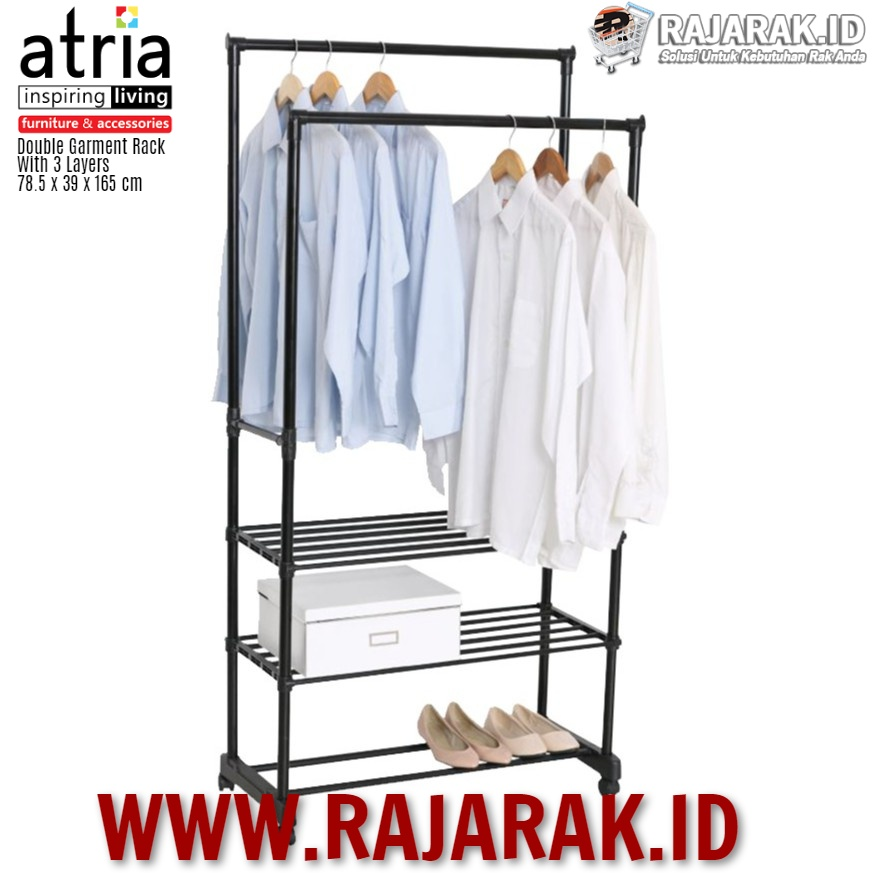 ATRIA – DOUBLE GARMENT RACK WITH 3 LAYERS