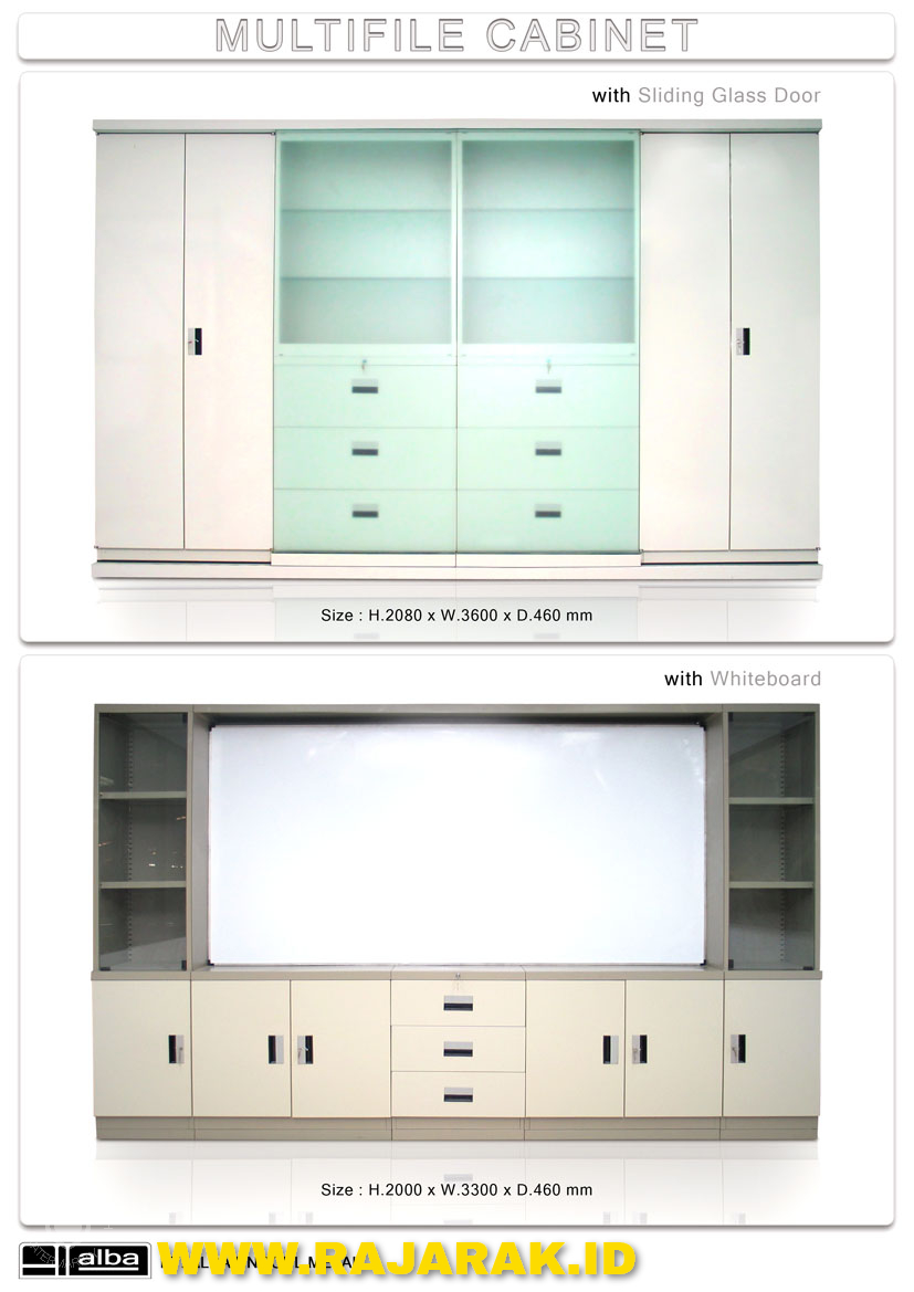 ALBA MULTIFILE CABINET + Sliding Glass Door