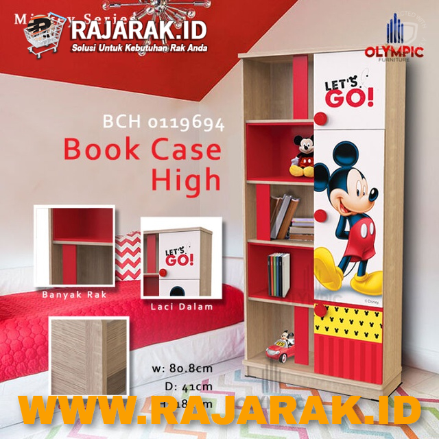 OLYMPIC BOOK CASE MICKEY SERIES - RAK BUKU ANAK KARAKTER MICKEY MOUSE