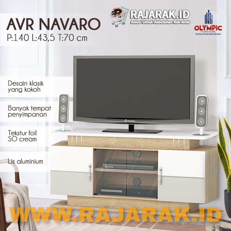 OLYMPIC MEJA TV SERIES AUDIO VIDUAL RACK - RAK TV AVR NAVARO