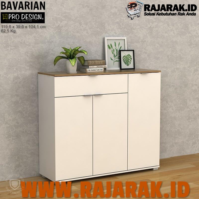 PRO DESIGN – BAVARIAN BUFET | RAK SEPATU SANDAL 3 PINTU WHITE YELLOW OAK CLOVIS TYPE SBSR 120