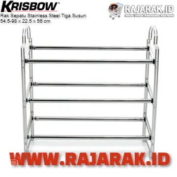 RAK SEPATU STAINLESS STEEL KRISBOW 3 SUSUN