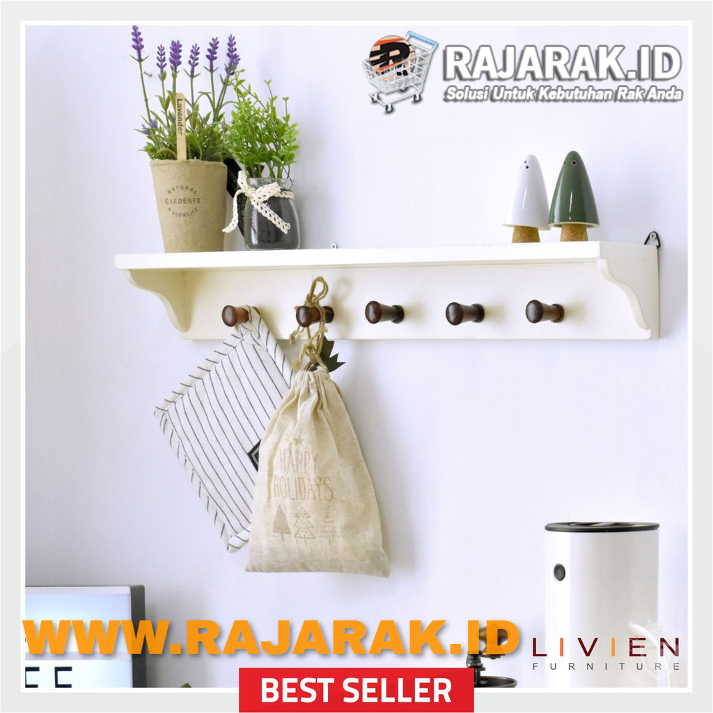 LIVIEN FURNITURE - RAK GANTUNG IVORY WHITE - RAK DINDING EVELYN SERIES