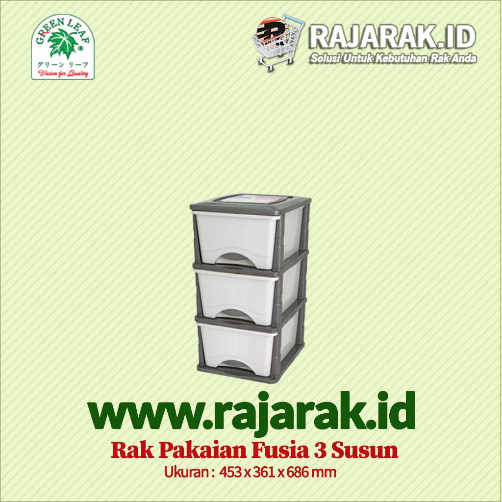 RAK PAKAIAN / BAJU GREEN LEAF TIPE FUSIA 3 SUSUN