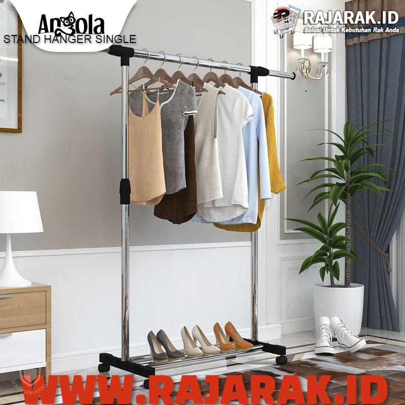 ANGOLA – STAND HANGER SINGLE / RAK BAJU STAINLESS / RAK PAKAIAN / GANTUNGAN BAJU