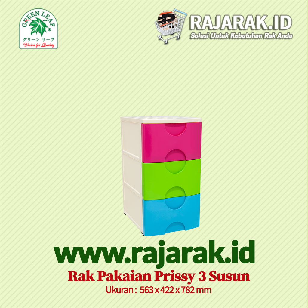 RAK PAKAIAN / BAJU GREEN LEAF TIPE PRISSY 3 SUSUN